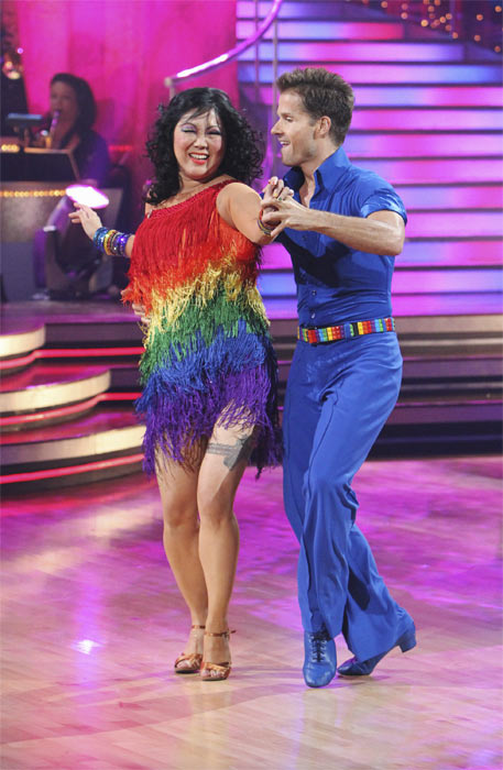 "<div class=""meta ""><span class=""caption-text "">Margaret Cho and Louis van Amstel perform on 'Dancing With the Stars,' Monday, Oct. 4, 2010. The judges gave the couple 18 points out of 30. (ABC Photo/ Adam Larkey)</span></div>"