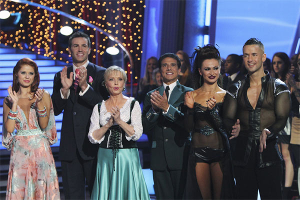 "<div class=""meta ""><span class=""caption-text "">Anna Trebunskaya, Kurt Warner, Florence Henderson, Corky Ballas, Karina Smirnoff, Mike 'The Situation' Sorrentino are seen on 'Dancing With the Stars,' Monday, Oct. 4, 2010. (ABC Photo/ Adam Larkey)</span></div>"