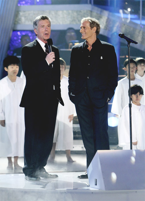 Tom Bergeron and Michael Bolton are seen on...