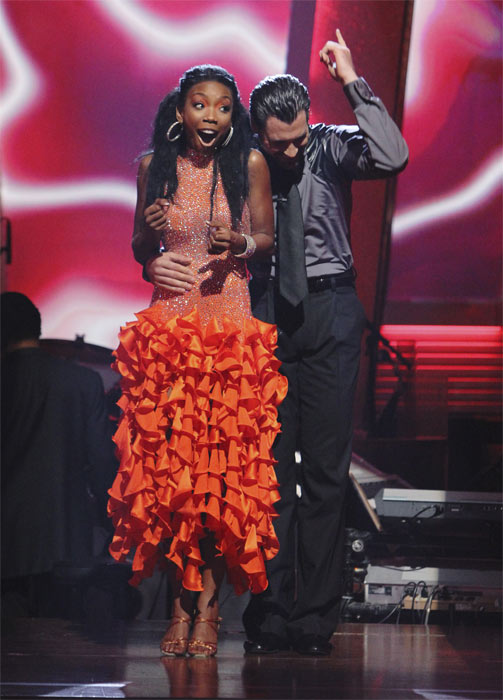 Brandy and Maksim Chmerkovskiy react to being safe on 'Dancing With the Stars: The Results Show,' Tuesday, Oct. 5, 2010. The judges gave the couple 24 points out of 30.