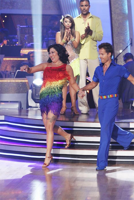 Margaret Cho and Louis van Amstel react to being eliminated on 'Dancing With the Stars: The Results Show,' Tuesday, Oct. 5, 2010.