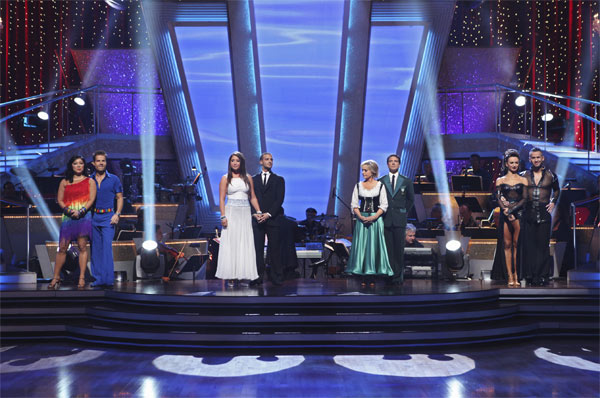 "<div class=""meta ""><span class=""caption-text "">Margaret Cho, Louis van Amstel, Audrina Patridge, Mark Ballas, Florence Henderson, Corky Ballas, Karina Smirnoff, and Mike 'The Situation' Sorrentino wait to hear their fate on 'Dancing With the Stars: The Results Show,' Tuesday, Oct. 5, 2010. (ABC Photo/ Adam Larkey)</span></div>"