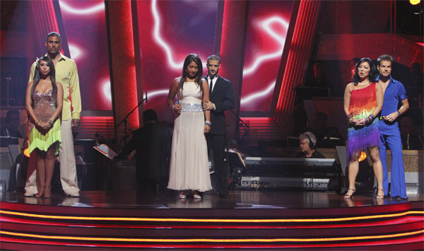 Cheryl Burke, Rick Fox, Bristol Palin, Mark Ballas, Margaret Cho, Louis van Amstel wait to hear their fate on &#39;Dancing With the Stars: The Results Show,&#39; Tuesday, Oct. 5, 2010. <span class=meta>(ABC Photo&#47; Adam Larkey)</span>