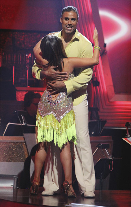 Rick Fox and Cheryl Burke react to being safe on 'Dancing With the Stars: The Results Show,' Tuesday, Oct. 5, 2010. The judges gave the couple 24 points out of 30.