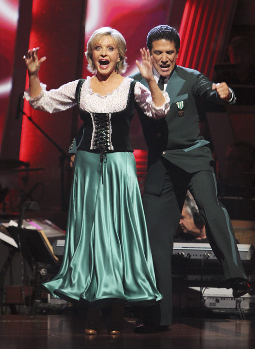 "<div class=""meta ""><span class=""caption-text "">Florence Henderson and Corky Ballas react to being safe on 'Dancing With the Stars: The Results Show,' Tuesday, Oct. 5, 2010. The judges gave the couple 20 points out of 30. (ABC Photo/ Adam Larkey)</span></div>"