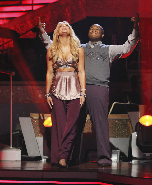 Kyle Massey and Lacey Schwimmer react to being safe on 'Dancing With the Stars: The Results Show,' Tuesday, Oct. 5, 2010. The judges gave the couple 23 points out of 30.