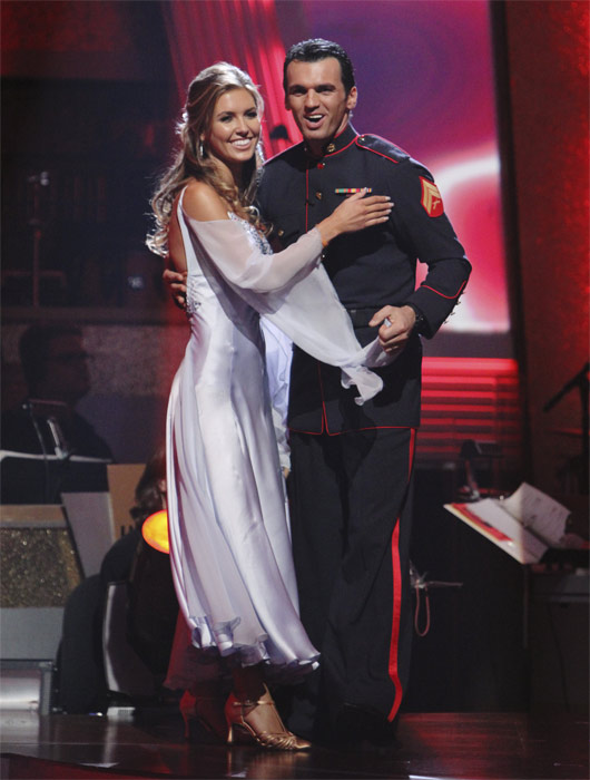 Audrina Patridge and Tony Dovolani react to being safe on &#39;Dancing With the Stars: The Results Show,&#39; Tuesday, Oct. 5, 2010. The judges gave the couple 26 points out of 30. <span class=meta>(ABC Photo&#47; Adam Larkey)</span>