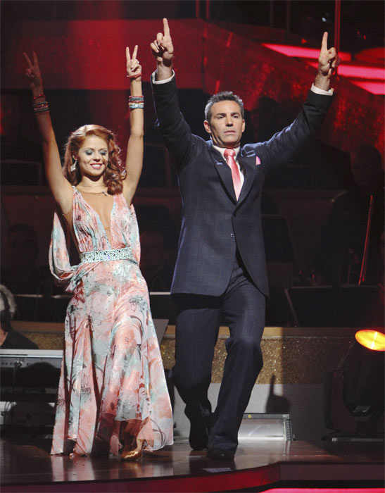Kurt Warner and Anna Trebunskaya react to being safe on &#39;Dancing With the Stars: The Results Show,&#39; Tuesday, Oct. 5, 2010. The judges gave the couple 23 points out of 30. <span class=meta>(ABC Photo&#47; Adam Larkey)</span>