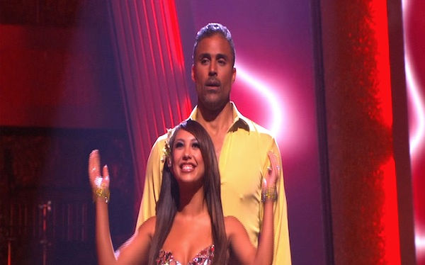 "<div class=""meta ""><span class=""caption-text "">Rick Fox and Cheryl Burke react to being safe on 'Dancing With the Stars: The Results Show,' Tuesday, Oct. 5, 2010. The judges gave the couple 24 points out of 30. (KABC Photo)</span></div>"