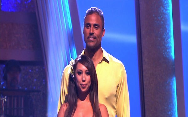 "<div class=""meta ""><span class=""caption-text "">Rick Fox and Cheryl Burke wait to hear their fate on 'Dancing With the Stars: The Results Show,' Tuesday, Oct. 5, 2010. The judges gave the couple 24 points out of 30. (KABC Photo)</span></div>"