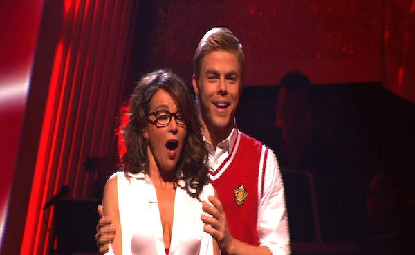Jennifer Grey and Derek Hough react to being safe on &#39;Dancing With the Stars: The Results Show,&#39; Tuesday, Oct. 5, 2010. The judges gave the couple 24 points out of 30. <span class=meta>(KABC Photo)</span>