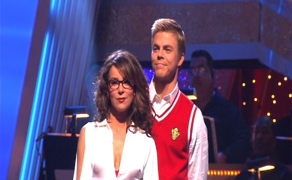 Jennifer Grey and Derek Hough wait to hear their fate on &#39;Dancing With the Stars: The Results Show,&#39; Tuesday, Oct. 5, 2010. The judges gave the couple 24 points out of 30. <span class=meta>(KABC Photo)</span>