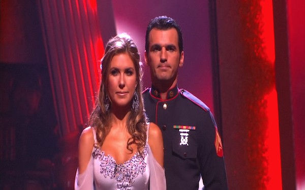 Audrina Patridge and Tony Dovolani wait to hear...