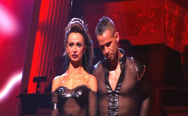 Mike 'The Situation' Sorrentino and Karina Smirnoff wait to hear their fate on 'Dancing With the Stars: The Results Show,' Tuesday, Oct. 5, 2010. The judges gave the couple 20 points out of 30.