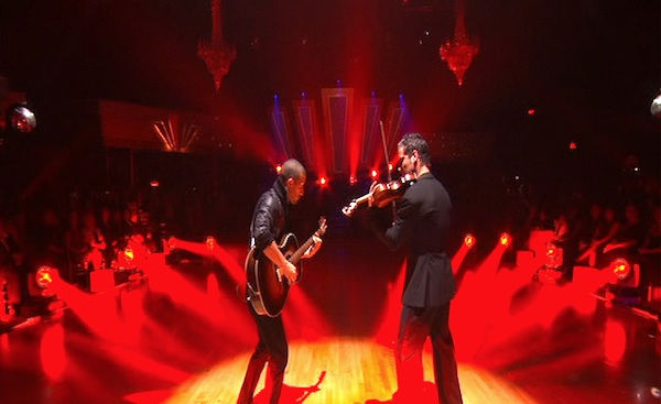 Mark Ballas and Val Chmerkovskiy had a string duel to a rendition of Britney Spears&#39; &#39;Toxic&#39; on &#39;Dancing With the Stars: The Results Show,&#39; Tuesday, Oct. 5, 2010. <span class=meta>(KABC Photo)</span>
