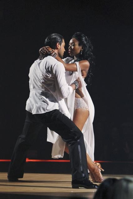 Brandy and Maksim Chmerkovskiy perform on 'Dancing With the Stars,' Monday, Oct. 11, 2010. The judg