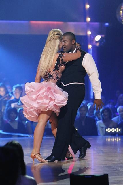 Kyle Massey and Lacey Schwimmer perform on &#39;Dancing With the Stars,&#39; Monday, Oct. 11, 2010. The judges gave the couple 40 points out of 60. <span class=meta>(ABC&#47;Adam Larkey)</span>