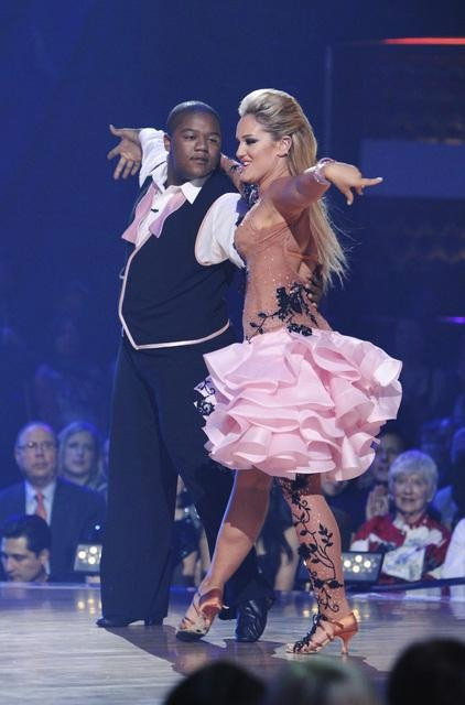 "<div class=""meta ""><span class=""caption-text ""> Kyle Massey and Lacey Schwimmer perform on 'Dancing With the Stars,' Monday, Oct. 11, 2010. The judges gave the couple 40 points out of 60. (ABC/Adam Larkey)</span></div>"