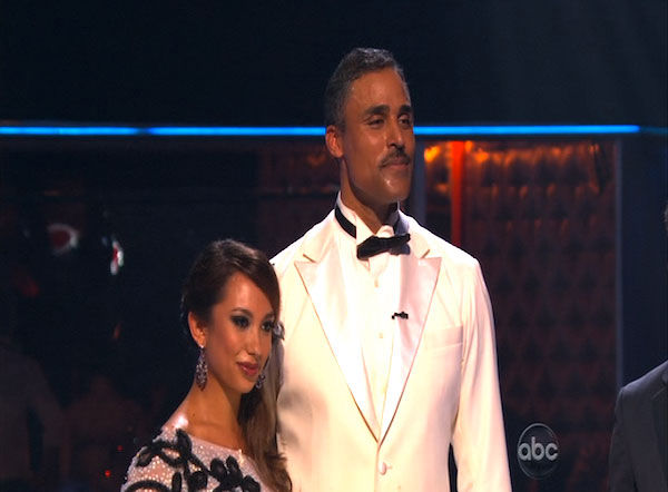 "<div class=""meta ""><span class=""caption-text "">Rick Fox and Cheryl Burke perform on 'Dancing With the Stars,' Monday, Oct. 11, 2010. The judges gave the couple 39 points out of 60. (KABC Photo)</span></div>"