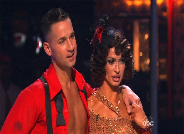 "<div class=""meta ""><span class=""caption-text "">Mike 'The Situation' Sorrentino and Karina Smirnoff perform on 'Dancing With the Stars,' Monday, Oct. 11, 2010. The judges gave the couple 28 points out of 60. (KABC Photo)</span></div>"