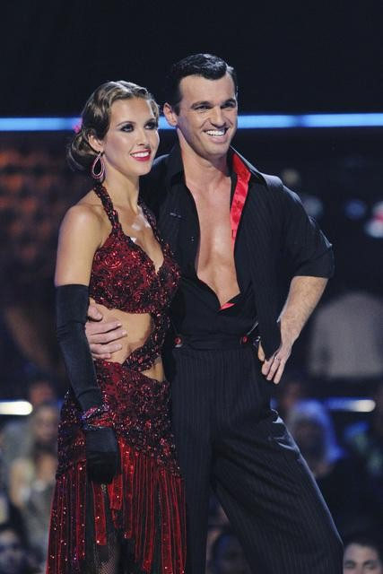 Audrina Patridge and Tony Dovolani perform on...