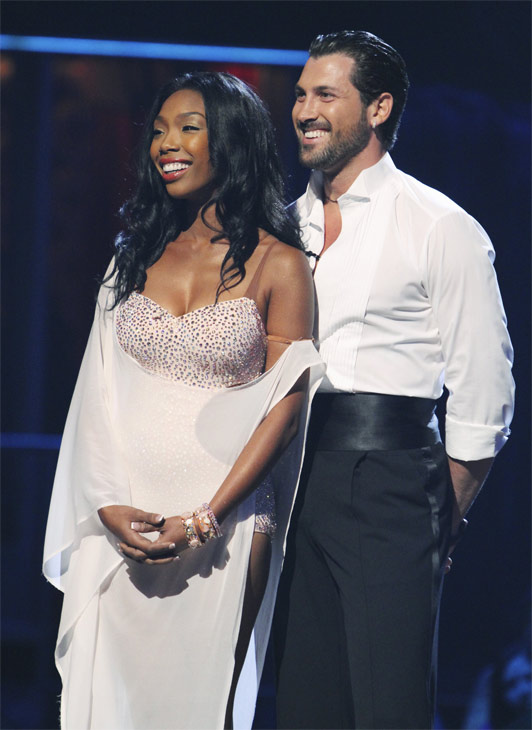 Brandy and Maksim Chmerkovskiy wait to hear their fate on 'Dancing With the Stars: The Results Show,' Tuesday, Oct. 12, 2010. The judges gave the couple 48 points out of 60.