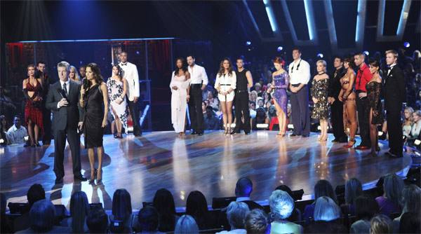 The remaining nine couples are seen with hosts Tom Bergeron and Brooke Burke on 'Dancing With the Stars: The Results Show,' Tuesday, Oct. 12, 2010.