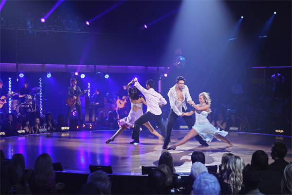 The Goo Goo Dolls, with professional dancers Chantel Aguirre, Jason Glover, Dmitry Chaplin, Chelsie Hightower, perform on &#39;Dancing With the Stars: The Results Show,&#39; Tuesday, Oct. 12, 2010. <span class=meta>(ABC Photo&#47; Adam Larkey)</span>