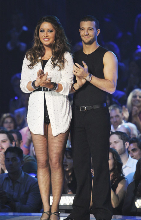 "<div class=""meta ""><span class=""caption-text "">Bristol Palin and Mark Ballas wait to hear their fate on 'Dancing With the Stars: The Results Show,' Tuesday, Oct. 12, 2010. The judges gave the couple 32 points out of 60. (KABC Photo)</span></div>"