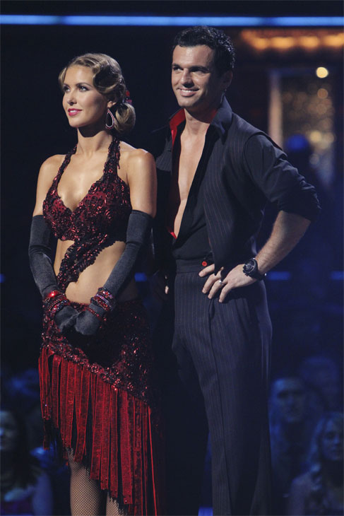 "<div class=""meta ""><span class=""caption-text "">Audrina Patridge and Tony Dovolani wait to hear their fate on 'Dancing With the Stars: The Results Show,' Tuesday, Oct. 12, 2010. The judges gave the couple 46 points out of 60. (ABC Photo/ Adam Larkey)</span></div>"