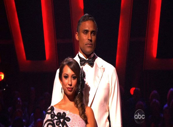 Rick Fox and Cheryl Burke wait to hear their fate on &#39;Dancing With the Stars: The Results Show,&#39; Tuesday, Oct. 12, 2010. The judges gave the couple 39 points out of 60. <span class=meta>(KABC Photo)</span>