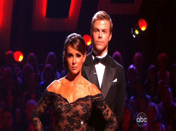 Jennifer Grey and Derek Hough wait to hear their fate on &#39;Dancing With the Stars: The Results Show,&#39; Tuesday, Oct. 12, 2010. The judges gave the couple 56 points out of 60. <span class=meta>(KABC Photo)</span>