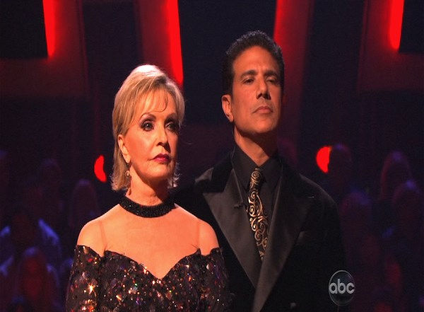 "<div class=""meta ""><span class=""caption-text "">Florence Henderson and Corky Ballas wait to hear their fate on 'Dancing With the Stars: The Results Show,' Tuesday, Oct. 12, 2010. The judges gave the couple 35 points out of 60. (KABC Photo)</span></div>"