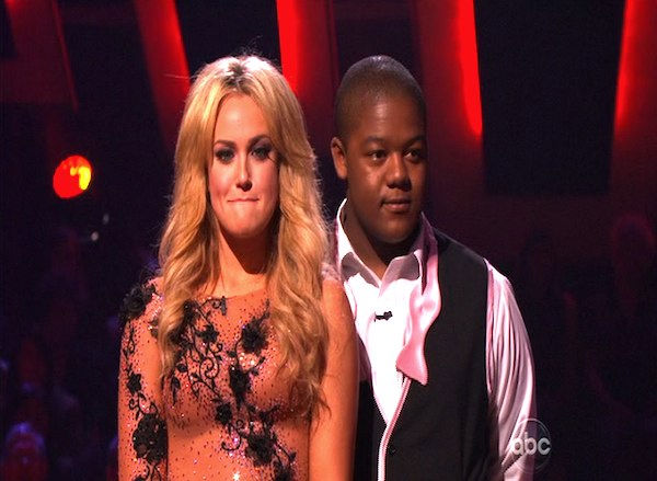 Kyle Massey and Lacey Schwimmer wait to hear...