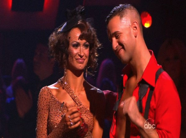 Mike 'The Situation' Sorrentino and Karina Smirnoff react to being eliminated on 'Dancing With the Stars: The Results Show,' Tuesday, Oct. 12, 2010. The judges gave the couple 28 points out of 60.