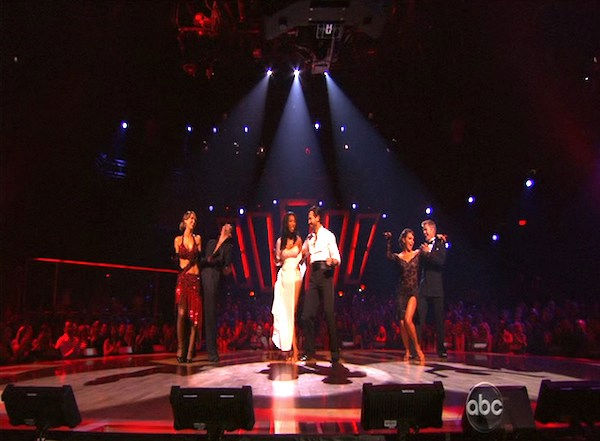 Brandy, Maksim Chmerkovskiy, Audrina Patridge, Tony Dovolani, Jennifer Grey and Derek Hough react to being safe on &#39;Dancing With the Stars: The Results Show,&#39; Tuesday, Oct. 12, 2010. <span class=meta>(KABC Photo)</span>