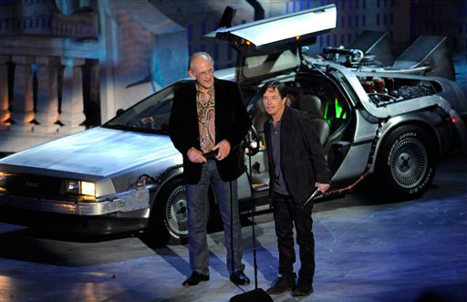 "<div class=""meta image-caption""><div class=""origin-logo origin-image ""><span></span></div><span class=""caption-text"">Michael J. Fox , right, and Christopher Lloyd accept the 25th Anniversary award for 'Back To The Future' at the Scream Awards on Saturday Oct. 16, 2010, in Los Angeles. (AP Photo/Chris Pizzello)</span></div>"