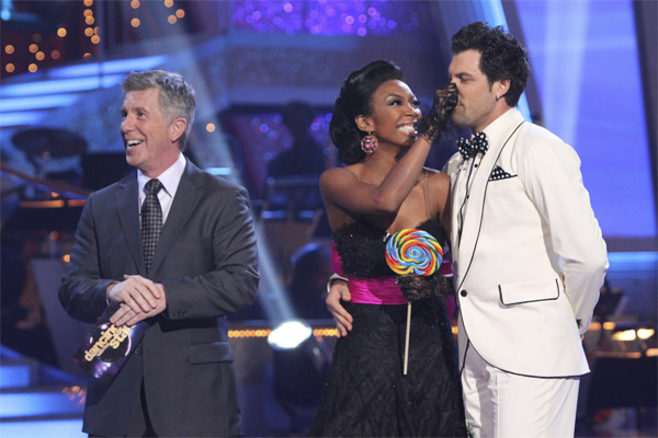 Brandy and Maksim Chmerkovskiy perform to the 'Friends' theme on 'Dancing With the Stars,' Monday, Oct. 18, 2010. The judges gave the couple 27 points out of 30.
