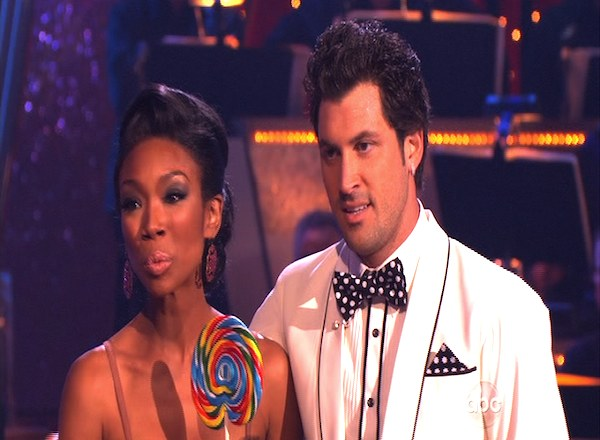 "<div class=""meta image-caption""><div class=""origin-logo origin-image ""><span></span></div><span class=""caption-text"">Brandy and Maksim Chmerkovskiy perform to the 'Friends' theme on 'Dancing With the Stars,' Monday, Oct. 18, 2010. The judges gave the couple 27 points out of 30. (KABC Photo)</span></div>"