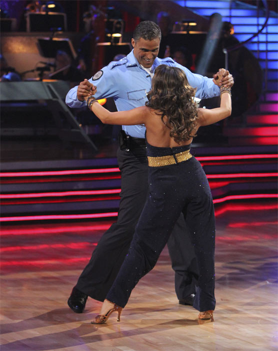 Rick Fox and Cheryl Burke perform to the &#39;Hill Street Blues&#39; theme on &#39;Dancing With the Stars,&#39; Monday, Oct. 18, 2010. The judges gave the couple 24 points out of 30. <span class=meta>(ABC Photo&#47;Adam Larkey)</span>