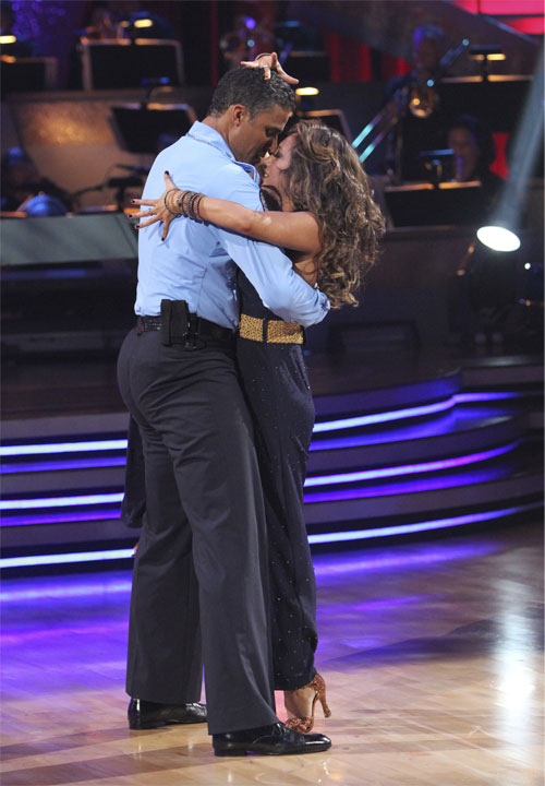 Rick Fox and Cheryl Burke perform to the 'Hill Street Blues' theme on 'Dancing With the Stars,' Monday, Oct. 18, 2010. The judges gave the couple 24 points out of 30.