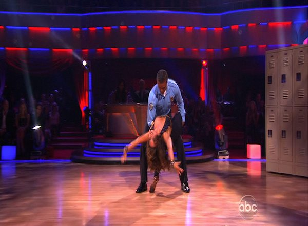 Rick Fox and Cheryl Burke perform to the &#39;Hill Street Blues&#39; theme on &#39;Dancing With the Stars,&#39; Monday, Oct. 18, 2010. The judges gave the couple 24 points out of 30. <span class=meta>(KABC Photo)</span>