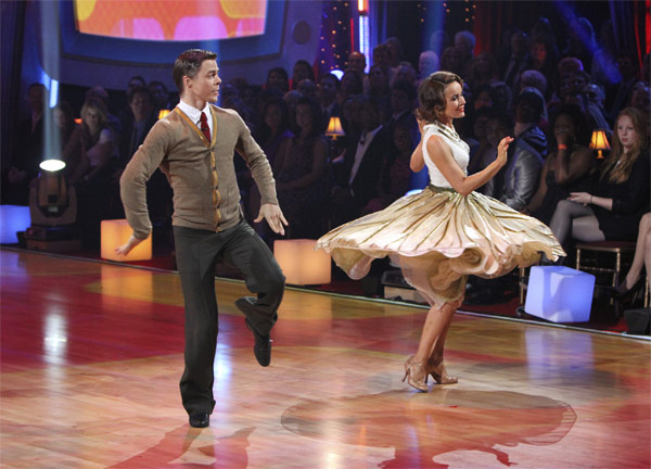 Jennifer Grey and Derek Hough perform to the...