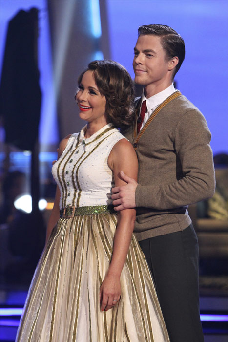 Jennifer Grey and Derek Hough perform to the 'Married...With Children' theme on 'Dancing With the Stars,' Monday, Oct. 18, 2010. The judges gave the couple 25 points out of 30.
