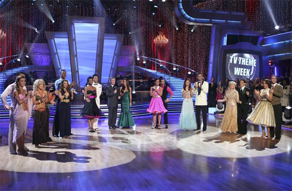 The eight remaining couples with hosts Tom...