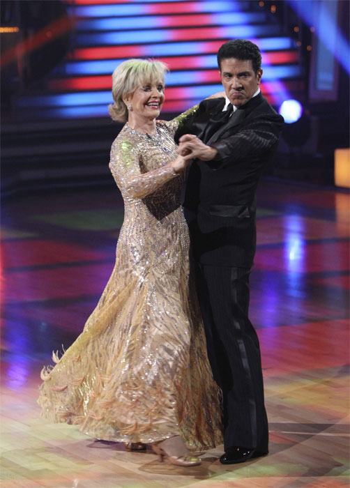 "<div class=""meta ""><span class=""caption-text "">Florence Henderson and Corky Ballas perform to 'The Brady Bunch' theme on 'Dancing With the Stars,' Monday, Oct. 18, 2010. The judges gave the couple 21 points out of 30. (ABC Photo/Adam Larkey)</span></div>"