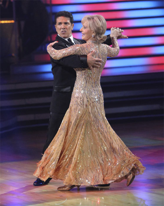 Florence Henderson and Corky Ballas perform to...