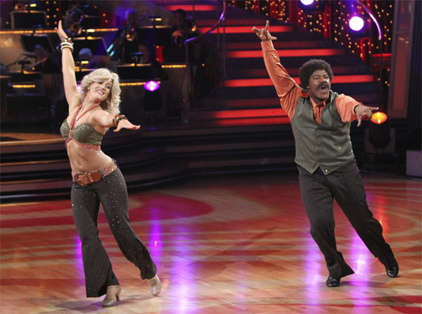 Kyle Massey and Lacey Schwimmer perform to the 'Charlie's Angels' theme on 'Dancing With the Stars,' Monday, Oct. 18, 2010. The judges gave the couple 20 points out of 30.