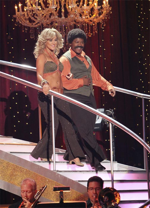 "<div class=""meta ""><span class=""caption-text "">Kyle Massey and Lacey Schwimmer perform to the 'Charlie's Angels' theme on 'Dancing With the Stars,' Monday, Oct. 18, 2010. The judges gave the couple 20 points out of 30. (ABC Photo/Adam Larkey)</span></div>"
