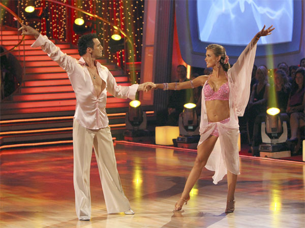 Audrina Patridge and Tony Dovolani perform to...
